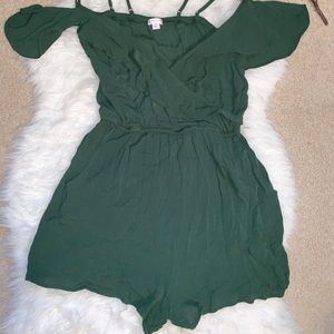 Xhilaration green cold shoulder ruffle romper